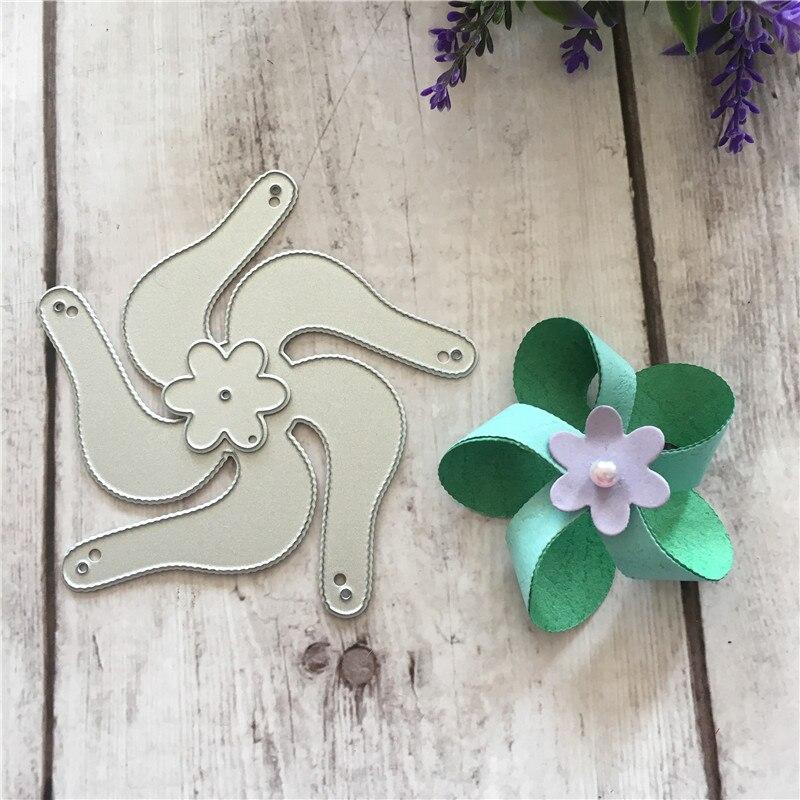 3D Flower Windmill Metal Cutter Cutting Dies Scrapbook Album Album Card  Making DIY Embossing Stencils Template