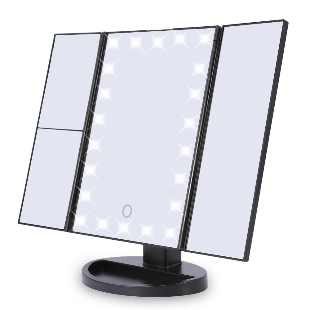 22 LED Make-up Mirror Touch Screen 2X/3X/10X magic Magnifying Mirrors 3 Fold Vanity Mirror with illumination maquiagem Mirror usb led makeup mirror maquiagem double sided wireless charge for phone led touch screen amplifier make up mirror cosmetics tool