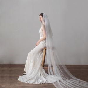 Image 3 - צעיף ארוך 3 מטר קתדרלת חתונת רעלות קצה לחתוך כלה רעלה עם מסרק כלה אביזרי כלה רעלה