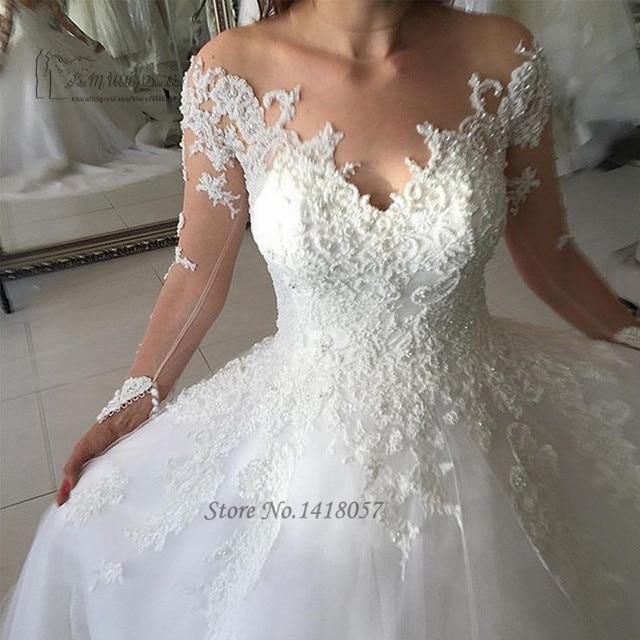 Latest Design Beaded Wedding Gowns Long Sleeve Lace Wedding Dress 2017 Ball Gown Bridal Dresses Brush Train Vestidos de Noivas-in Wedding Dresses from ...