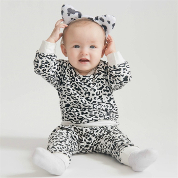 цена на Infant girl outfits Leopard baby clothes set toddler girl long sleeve top cotton baby boy clothes 0-24M winter baby clothing D30