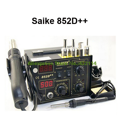 Free Gifts! SAIKE 852D++ Iron Solder Soldering Hot Air Gun 2 in 1 Rework Station 220V 110V Upgraded from SAIKE 852D +  цены