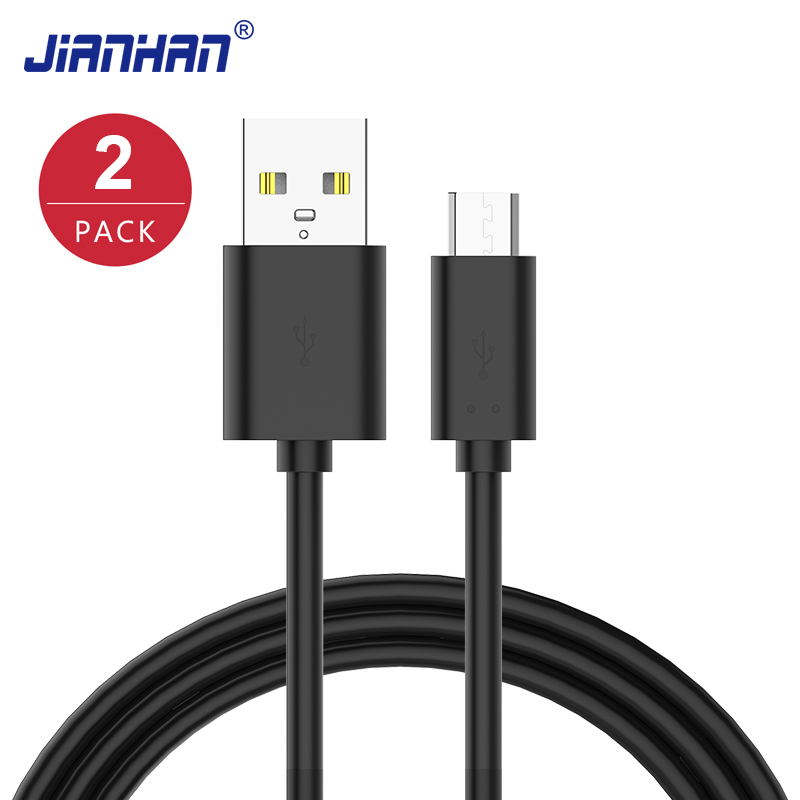 2 Pack Flat Micro USB Cable Fast Charging Phone Charger Adap