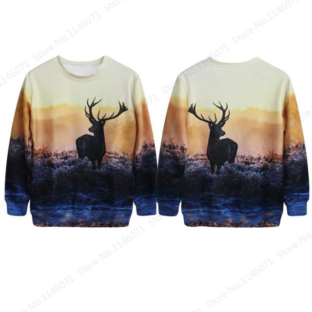 Golden Sunset Forest Deer Sweatshirt Tracksuit 3D Print Fallow Deer Pullovers  Women Autumn Winter Punk Training Sweaters Jackets c843ba6f7