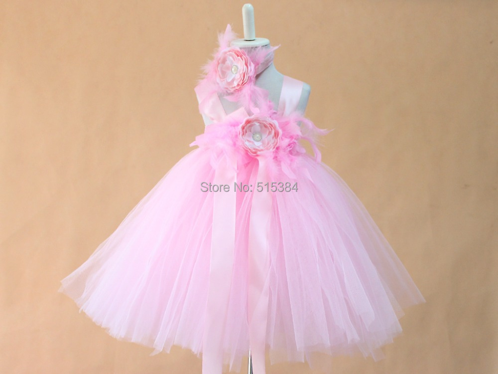 new summer pink flower feather tutu dresses for baby girls