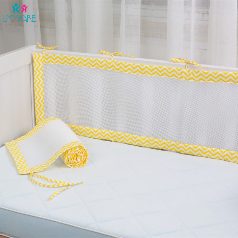 Baby Breathable Mesh Bed Bumper Pads For Standard Cribs Machine Washable Padded Crib Liner Unisex Baby Bumpers For Summer 2Pcs