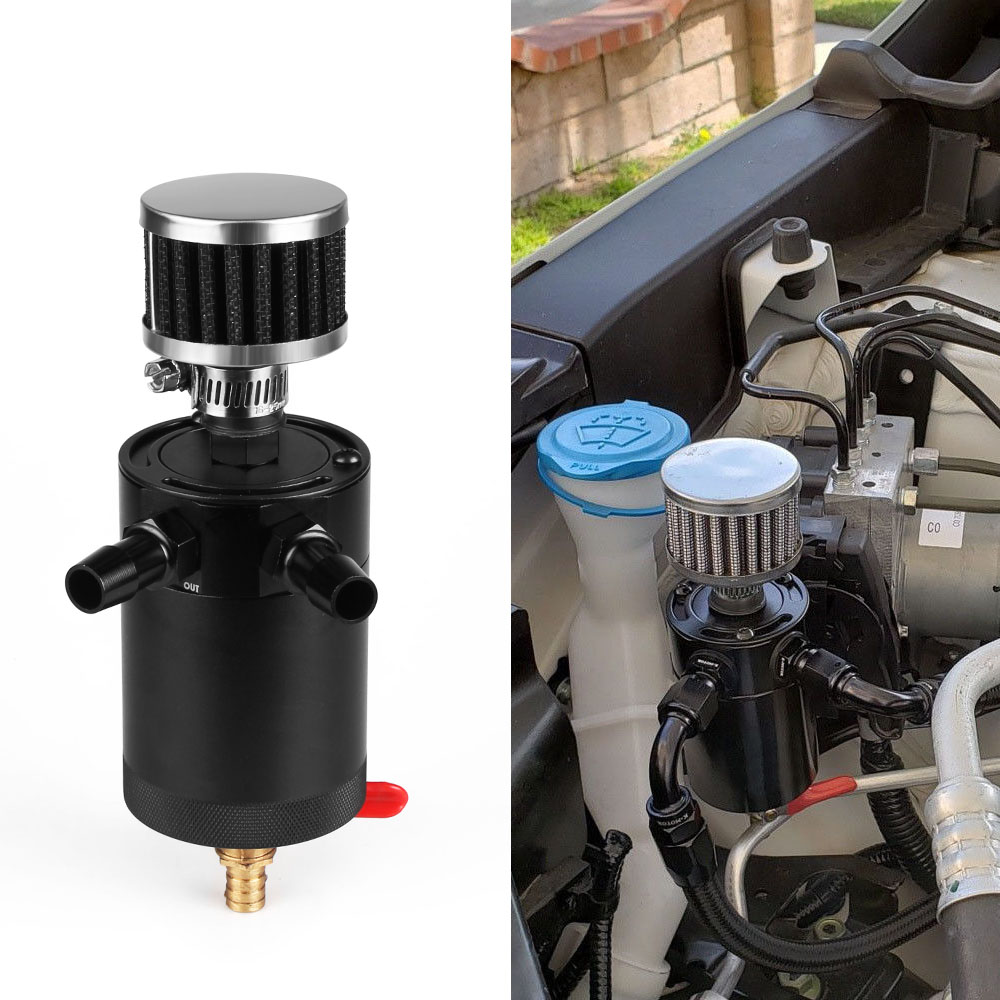 RASTP Universal 2 Port Billet aluminum Car Engine Oil Catch Can Tank With Breather Filter Reservoir Oil Separator RS OCC014 in Fuel Tanks from Automobiles Motorcycles