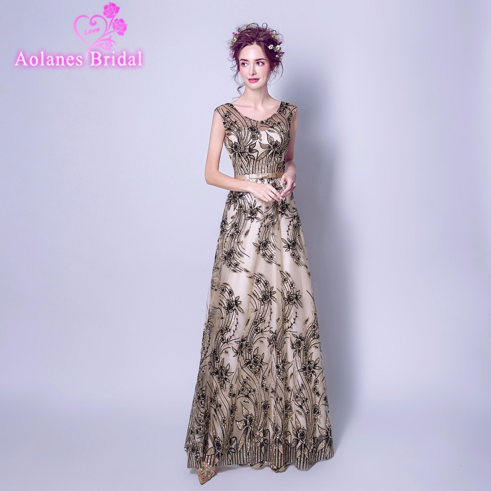 Discount Evening Gowns: Luxury Champagne Black Long Sequin Evening Dress Scoop