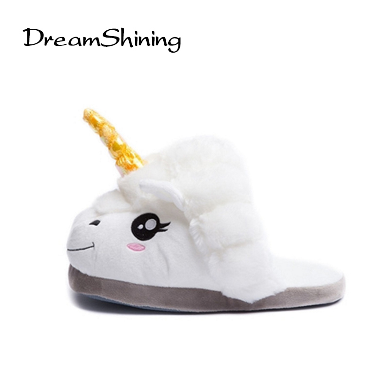 DreamShining Women Slipper Cartoon Warm Indoor Slippers Plush Unicorn Slippers For Grown Ups Home Slippers back when we were grown ups