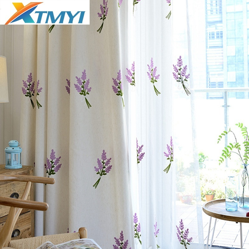 Yellow And White Bedroom Curtains: White Blue Yellow Jasmine Embroidered Floral Curtains For