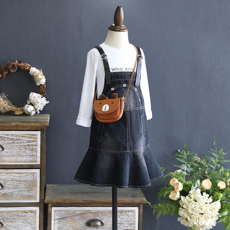 Girls skirt suit 2018 spring new girl Ruffle denim skirt with cotton letter T shirt wild two-piece