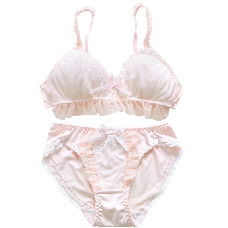 Lovely triangle cup underwear suits without rims embroidery cotton comfortable sleep sweet girl heart bra bra set lace dessous