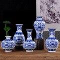 Vintage Chinese Wind Home Decoration Ceramic Vase Blue and White Porcelain Flower Receptacle