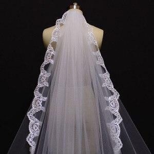 Image 5 - Nova uma camada 4 metros bling lantejoulas borda do laço de luxo longo véus casamento com pente alta qualidade branco marfim véu nupcial