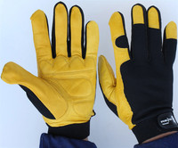 Free Shipping 2 Pairs Mechanical Working Gloves Genuine Leather Gloves Safety Protecting Leather Gloves