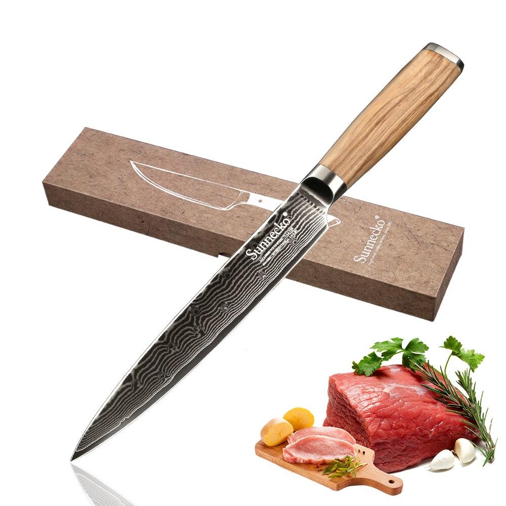 sunnecko 8'' slicing knife damascus japanese vg10 steel