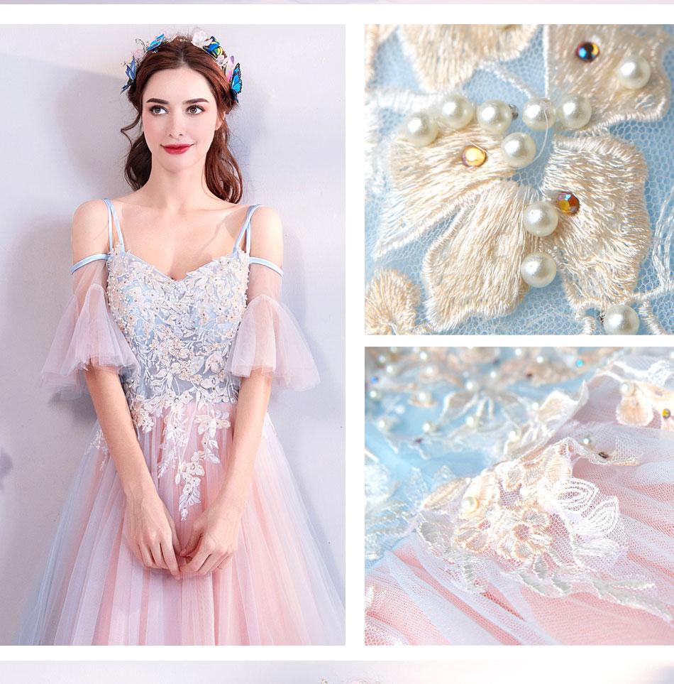 Elegant Off The Shoulder Tulle Long Bridesmaid Dress 3