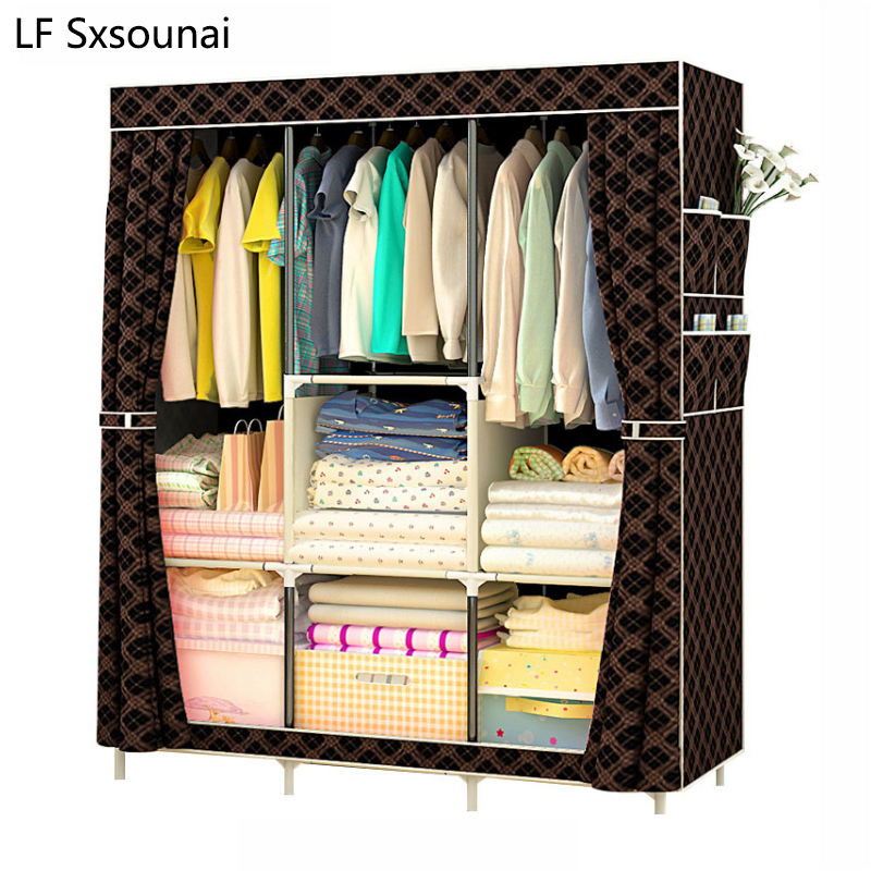LF Sxsounai Nonwoven Multifunction Wardrobe Closet Furniture Fabric Large Wardrobe Portable Folding Cloth Storage Cabinet Locker actionclub fabric oxford cloth wardrobe closet diy assembly multifunction large wardrobe folding portable cabinet home furniture