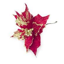 5a8038f30f Decoración del árbol de Navidad del arte del paño simulación flor oro plata  flores artificiales(