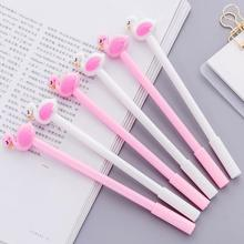 30pcs/lot 3D cute cartoon flamingos design signature pen 0.5mm black ink gel gift for kids neutral stationery wholesale