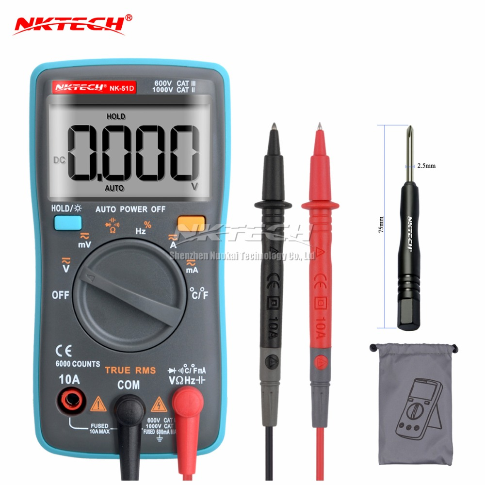 NK51C VS RM101 Diagnóstico-ferramenta Backlight Multímetro Digital 6000 Counts AC/DC Ohm Amperímetro Multimetro NK51A NK51B NK51D