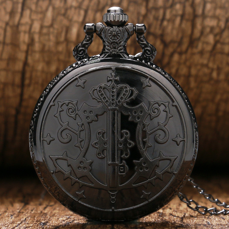 Steampunk Black Steel Pocket Watch Kuroshitsuji Men Quartz Watches Hour Gift For Boy 2018