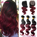 Burgundy Brazilian Virgin Hair With Closure Ombre Brazilian Hair With Closure Weave With Closure Ombre Body Wave With Closure