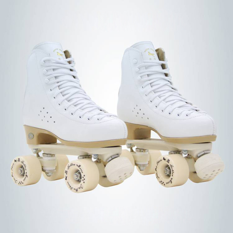 Adult Professional Two Line Roller Skates Shoes Double Row Skates Parenting Patines PU Wheel Cowhide Genuine Leather Unisex IB50 black roller skates double line skates men women lady model adult pink f1 racing 4 wheels two line roller skating shoes patines