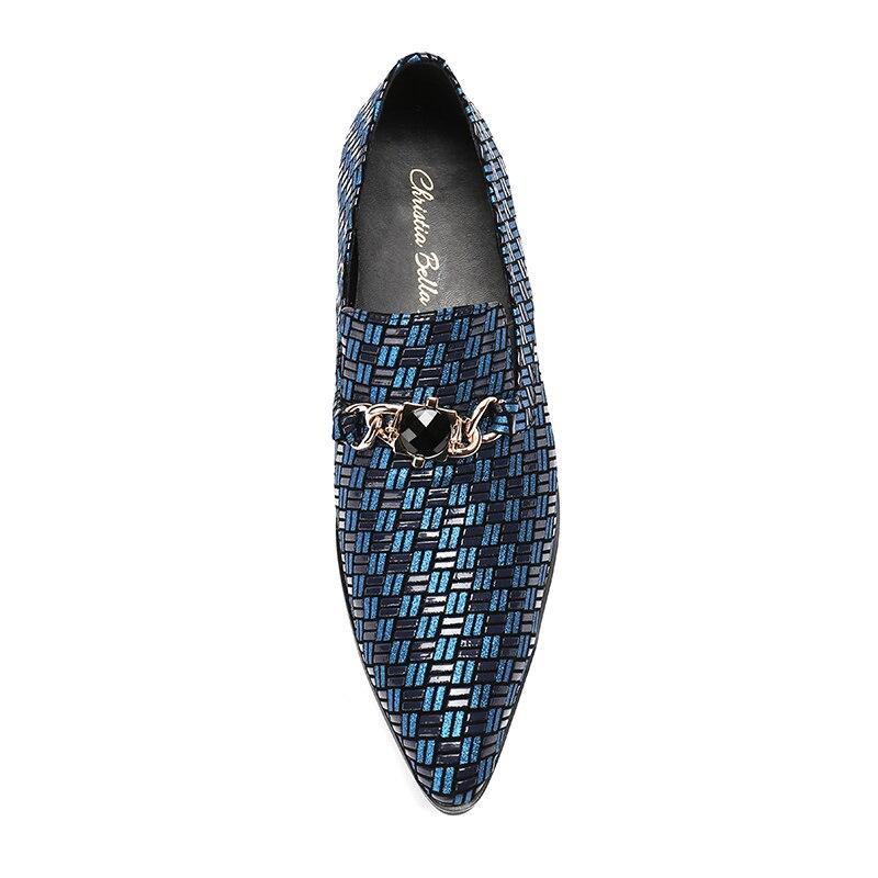 Cavalheiro Luxo prata Genuínos Bella Vestir Azul Casamento Couro Dos Tamanho Azul Christia 47 Grande Clássico Negócios 38 Homens De Sapatos vEPnqHxA