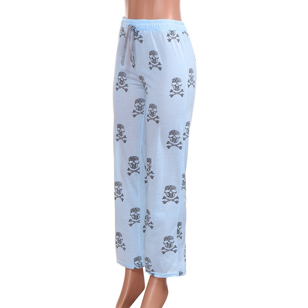 Polyester Women Lady Causal Daily High Waist Skull Print Wide Calf Length Long Leg Pants Women's plus size Harajuku Pants c0404 8