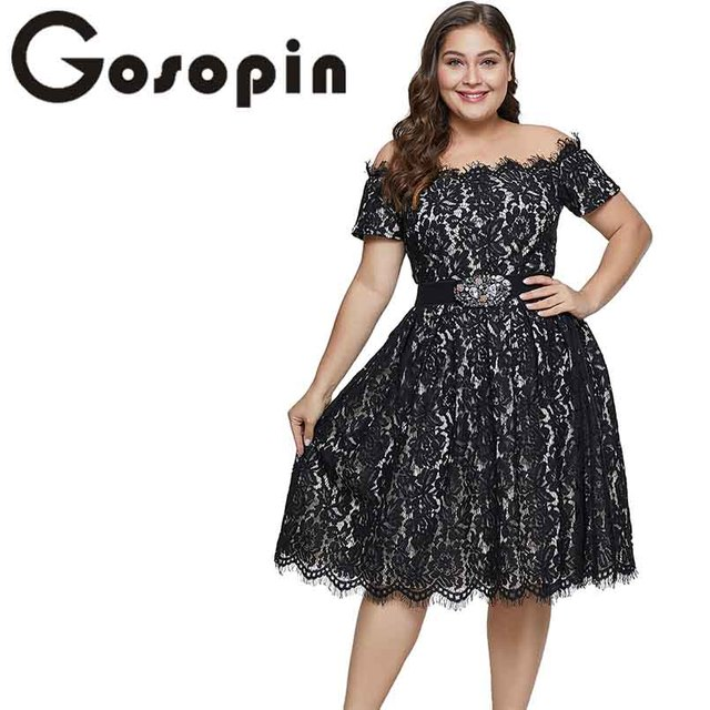 76db682c864 Gosopin Off Shoulder Lace Plus Size Dress Short Sleeve Sexy Dress For Party  Wedding Midi Summer Club Woman Dress Xxxl LC611038