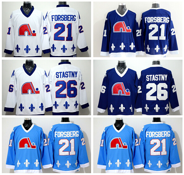 ... Vintage 2015 NWT 21 Peter Forsberg Nordiques Jersey Quebec 26 Peter  Stastny Throwback Ice Hockey Jerseys CCM ... 89f766635