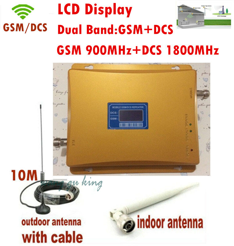 Dual Band LCD Display DCS 1800MHz + GSM 900Mhz Mobile Phone Signal Booster Cell Phone DCS GSM Signal Repeater Amplifier Antenna
