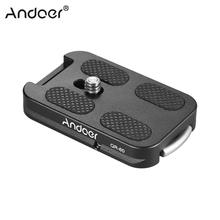 "Andoer QR 60 Quick Release Plate 1/4"" Screw Mount w/Attachment Loop for Arca Swiss Ball Head Tripod for Canon Nikon Sony DSLR"