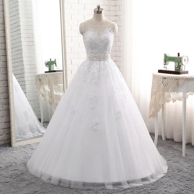2018 Новый Vestido De Noiva Длинные бальное платье Кружево аппликация Свадебные платья Лидер продаж Белый Тюль аппликации из бисера Sash Свадебные платья