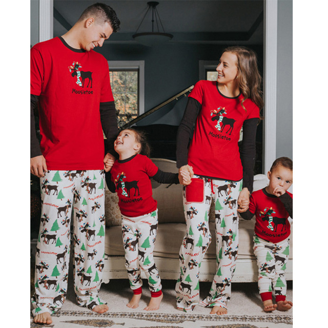 448e186d1a NEW Christmas family pajamas matching family pyjama set Xmas pjs new year  family look father son mother daughter moose sleepwear
