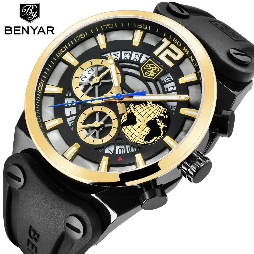 BENYAR Mens Watches Quartz Luxury Chronograph Sport Watch Men Fashion Brand Waterproof silicone Military Watch Relogio Masculino все цены