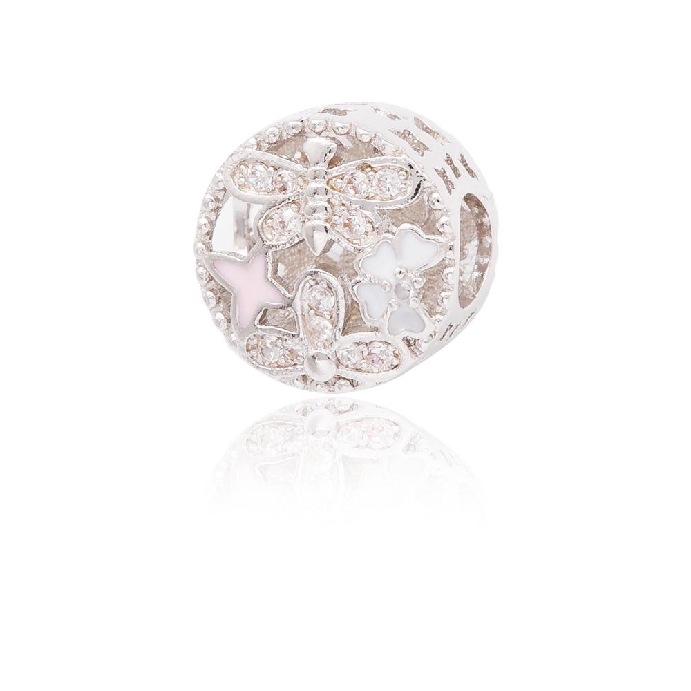 High quality 925 Silver Hollow Crystal Radiant snowflake Charm Fit Original Pandora Charm Bracelet Jewelry Gift js1546