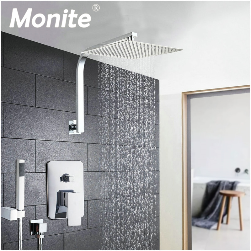 6/8/10/12/16 Inch Shower Head System Stainless Steel Rainfall Shower Set Faucets With Hand Shower Bathroom Bath Shower Combo Set