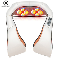 Angekruila Auto/Home Hals Massager Elektrische Shiatsu Schouder Been Body Massage Infrarood 3D Kneden U Vorm Massagem EU Plug