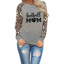 Fashion Football Mom Print T-Shirt Female Leopard Harajuku Punk Love Football Lover Gift Silicone Slogan Sport Tees(China)