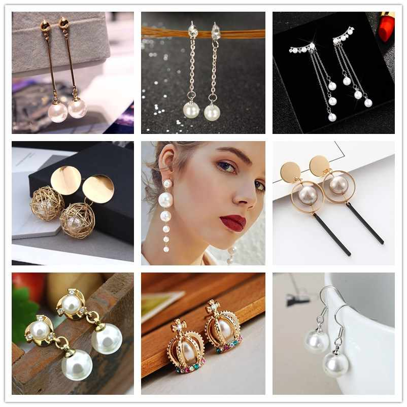New Brand Design Gold Color Wild Simulated Pearl Earrings For Women Personality Geometric Female Elegant Earring Accessories