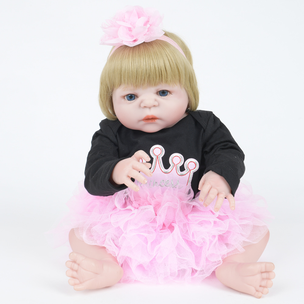 55cm Soft Full Silicone Vinyl Reborn Baby Doll Newborn Princess Girl Dolls for Children Kids Toy Birthday Xmas New Year Gift 22 inch soft full silicone vinyl reborn baby doll lovely sleeping girl dolls for children kids toy birthday xmas new year gift