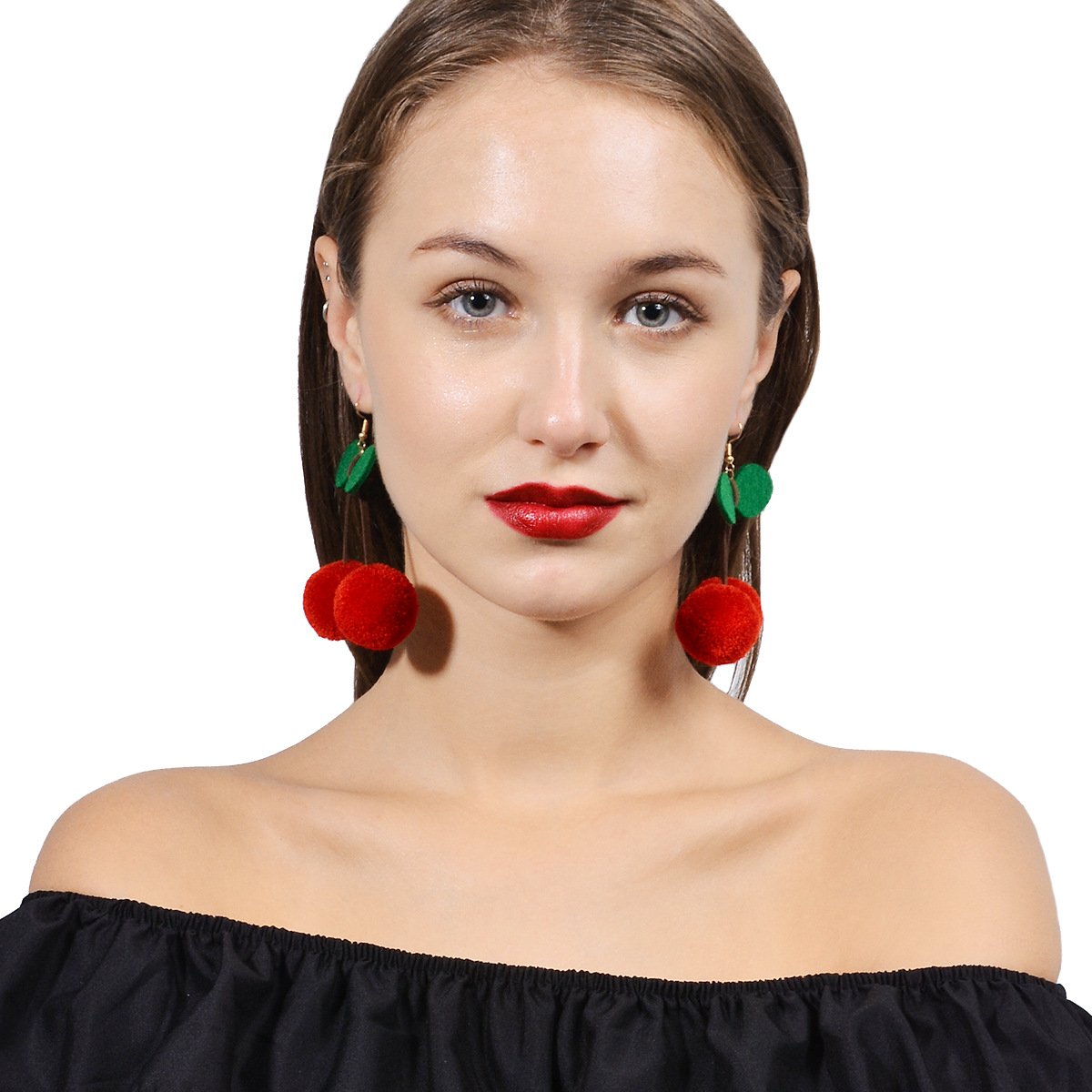 Cute Korea Style Tassel Earrings Hair ball Cherry Shape Dangle Earrings For Woman Clothi ...