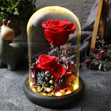 Led Flashing Luminous Floral Fresh Preserved Flowers Wedding Romantic Artificial Rose Flower Decor Valentines Day Gift