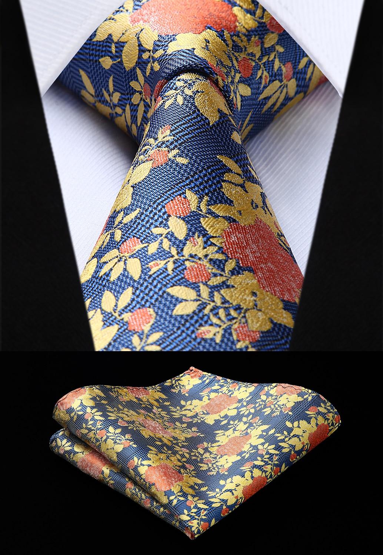 Party Wedding Classic Fashion Pocket Square Tie Woven Men Blue Orange Yellow Tie Floral Necktie Handkerchief Set#TF903Y8S