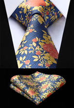 Party Wedding Classic Fashion Pocket Square Tie Woven Men Blue Orange Yellow Tie Floral Necktie Handkerchief Set#TF903Y8S(China)