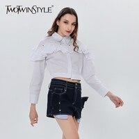 TWOTWINSTYLE White Shirt Denim Shorts Two Piece Set Ruffle Long Sleeve Women S Blouse Crop Tops