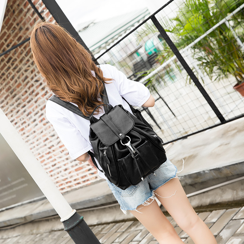 Leather shoulder bag lychee grain leather bag European style fashion Backpacks for Teenage Girls Female School european and american 2017 new lychee grain 100