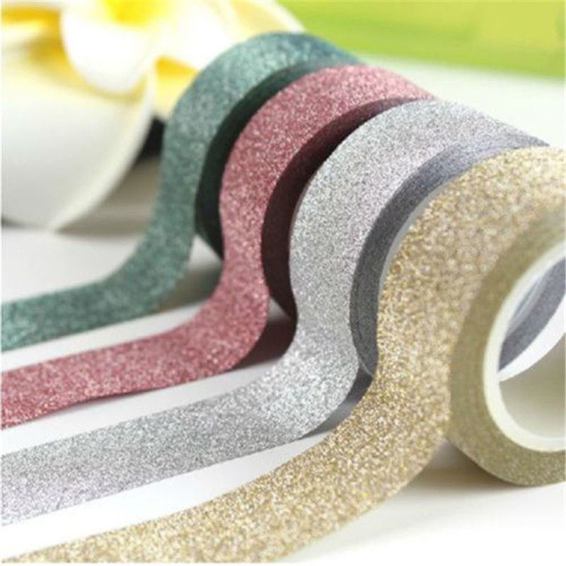 15mm*5m Glitter Washi Tape Set Japanese Stationery Scrapbooking Decorative Tapes  Kawai Adesiva Decorativa
